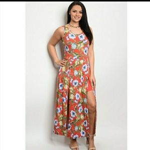 New plus size coral rompers